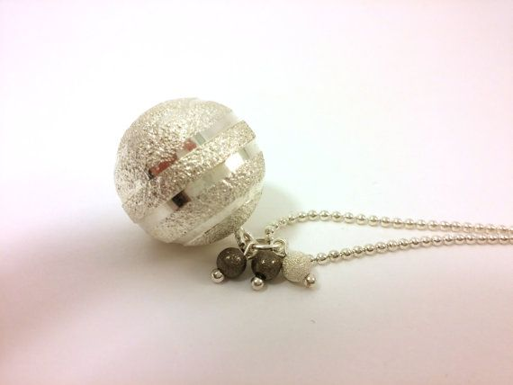 Silver Christmas Decoration Ball Pendant Necklace  by RivJewellery