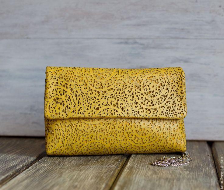 Купить Кожаный клатч - Ница - необычная сумка, сумка кожаная, кружева, роскошный подарок