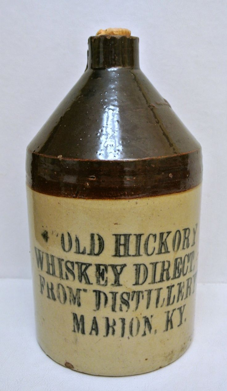 Antique RARE Whiskey Crock Advertising Jug Old Hickory Whiskey Direct from Distillery Marion Kentucky Primitive Rustic Pottery by WallflowerAntiques on Etsy