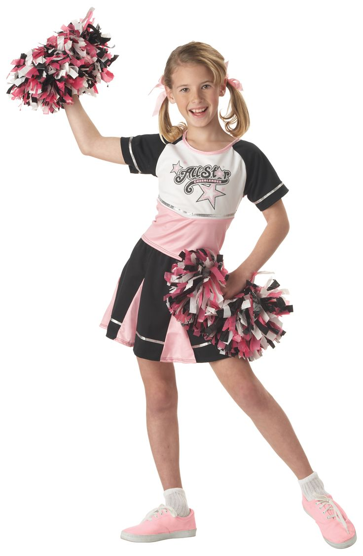All star Cheerleader Costume - This 4 piece cheerleader costume has big glee and all the moves. The shirt is pink with black sleeves and silver trim. It has a screen printed sparkly silver All Star Cheerleader.The skirt is matching pleated colours and has an elastic waist. Two pom poms are included in matching Pink, black and White. This is great for Glee parties, Halloween and great for group costumes.   #cheerleader #uniform #kids #children #yyc #calgary #costume