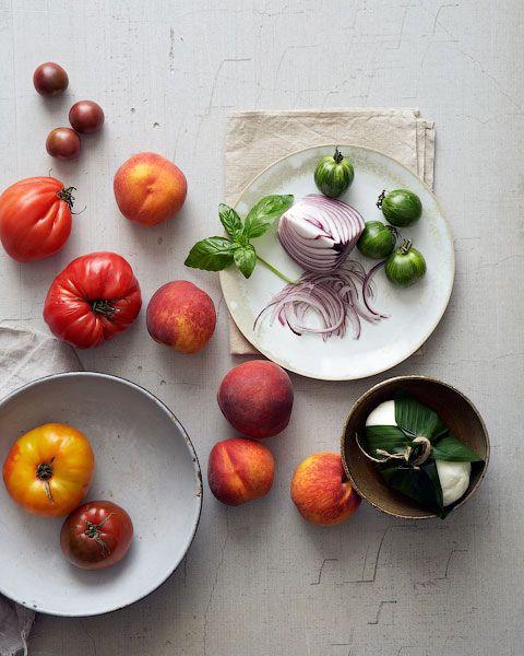 Peach, Tomato and Burrata Salad Ingredients by Joseph De Leo