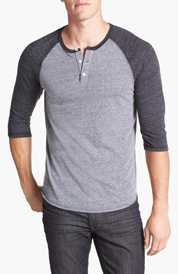 These throw back baseball tee's are always cool on guys~ But it may not be your style~ Try one on though and see how you look! :) Called: Alternative Trim Fit Heathered Raglan Henley | Nordstrom