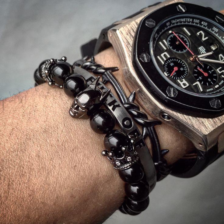 24k Gold Plated Roman Knight Batman & Crown Bracelet Men Black Nature Agate Stone Bead Bracelets For Men Jewelry Bangle