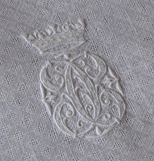 Em's Heart Antique Linens -Monogrammed Antique Linen Damask Towel