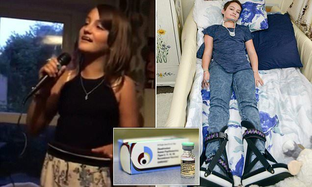 Mia Blesky, 12, from Reading was giventhe routine jab Gardasil - which protects against the human papilloma virus, in September. The straight A student went on to lose all sensation in her legs.