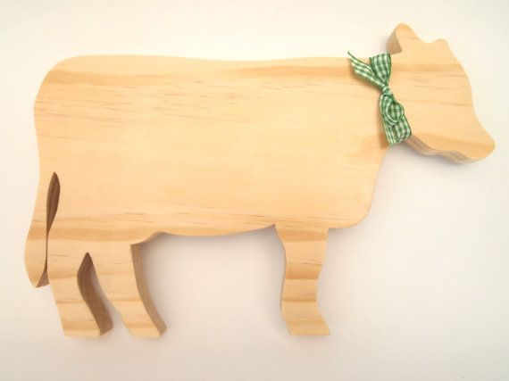 Handmade Decorative Wooden Standing Cow by TwoandSixCreations