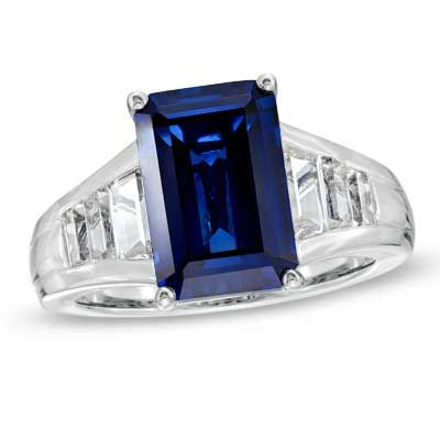 Emerald-Cut Lab-Created Ceylon and White Sapphire Ring in Sterling Silver $79