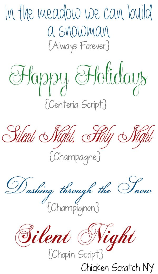 Holiday Fonts. Would like to find the original source of these fonts so that I can use them.