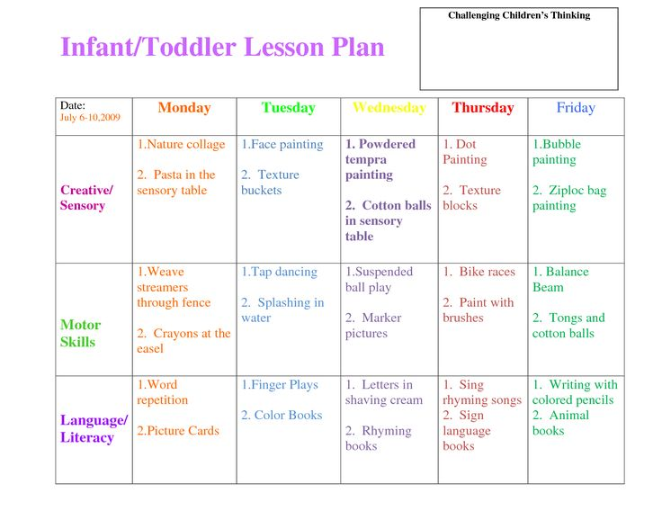 infant blank lesson plan sheets InfantToddler Lesson Plan - sample weekly lesson plan