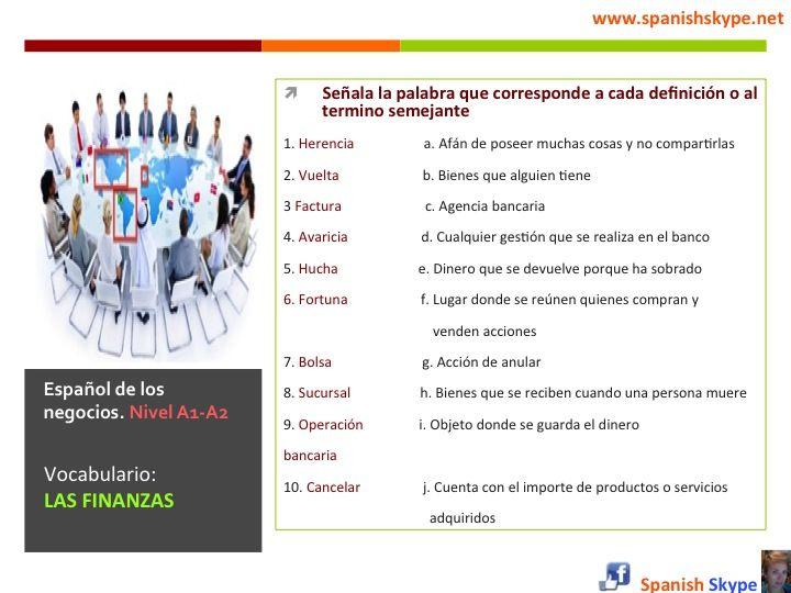 Español de los negocios (nivel A1-A2)  Vocabulario: Las finanzas