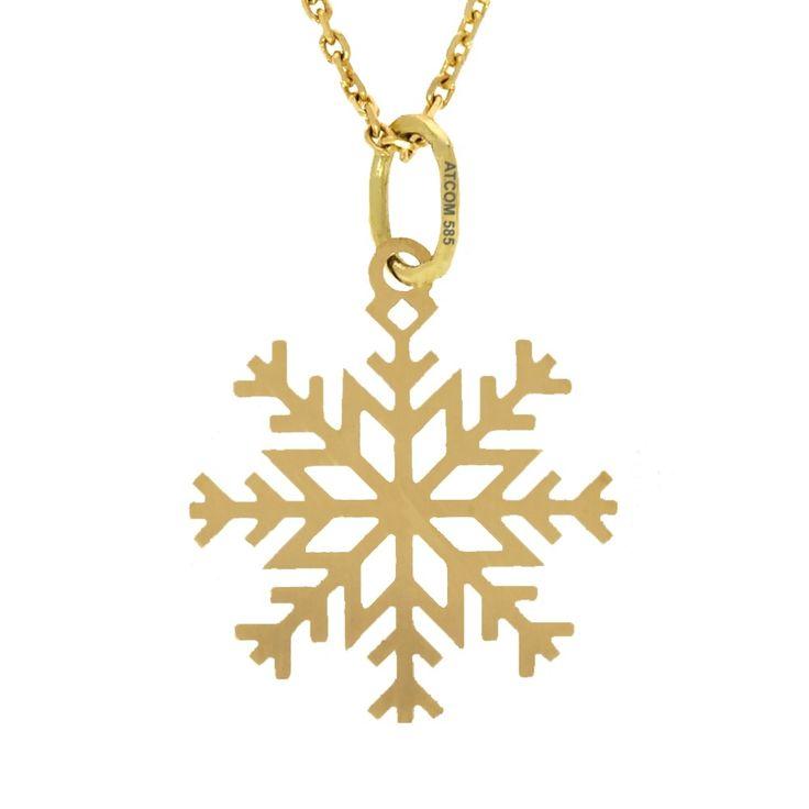 Pandantiv fulg de nea aur galben. Medalionul poate fi modelat si din aur roz, alb sau din argint.