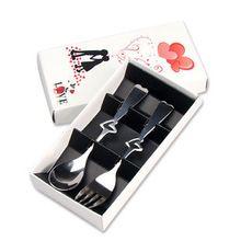 nieuwe draagbare roestvrij staal 2- stuk liefde hart vork lepel set voor paar/bruiloft servies voor gift(China (Mainland))