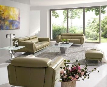 Stylish and comfortable Leather Lounge to furnish small area.