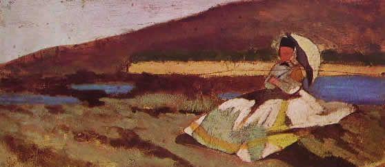 GIOVANNI FATTORI Signora seduta all'aperto, 10 x 22 cm. Milano proprietà privata