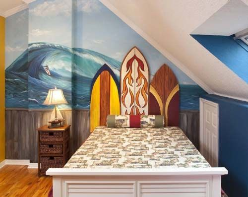 surf theme bedroom decorating surfing themed bedroom with surfboard and awesome wallpaper