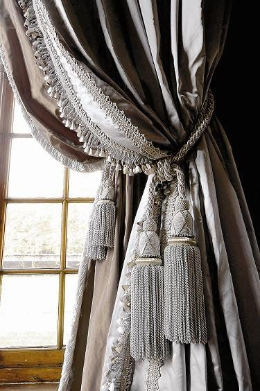 Grey curtain tassels