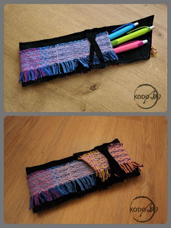 Hand Woven wrap scrap Váleček pen case made by Kodoba #handwovenValecek #KodoBa #pencase