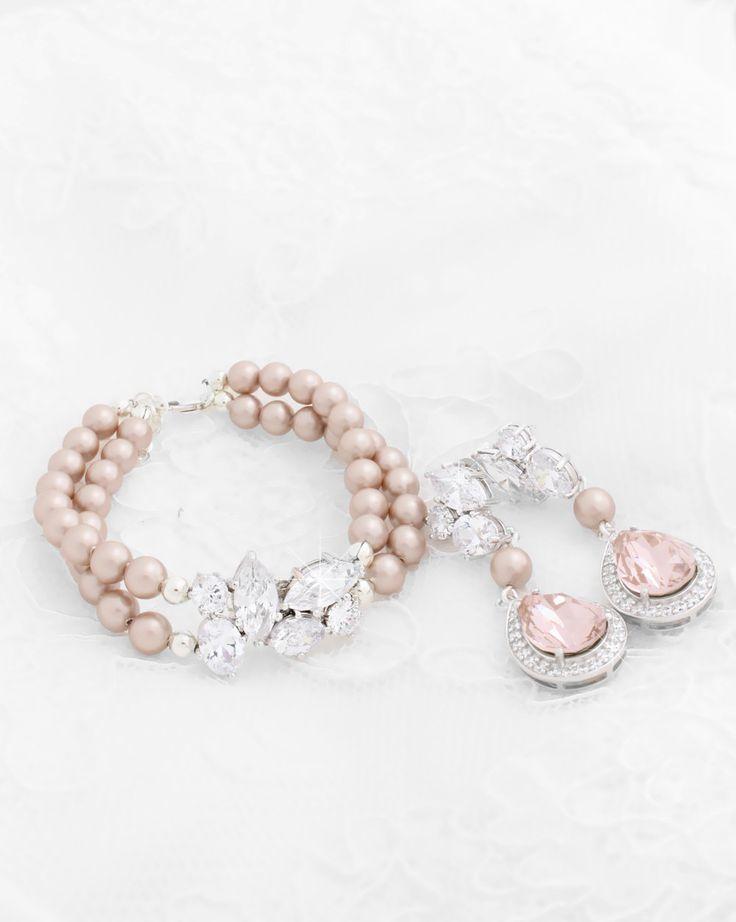 Blush Wedding Bracelet and Earrings Set
