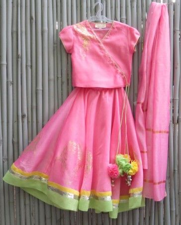 Hot Pink Lengha Set - kidswear - kid's lengha - kid's lehenga set - designer…