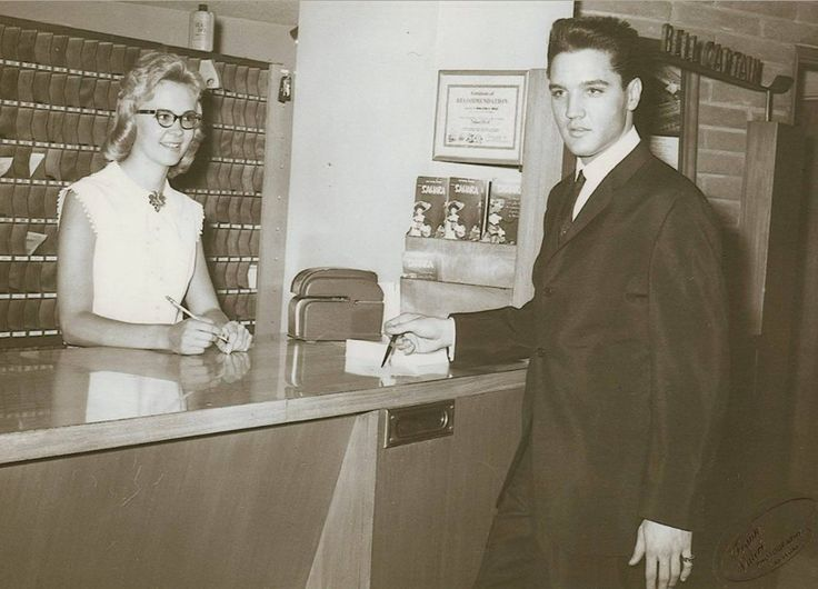 Checking into the Sahara Hotel in Las Vegas on July 26, 1960. Elvis went to see Bobby Darin open for comedian George Burns.  After the show, there was a surprise 65th birthday party for Gracie Allen (George's wife).