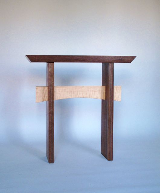 Minimalist Modern Walnut Side Table With Contrasting Stretcher  Narrow Hall  Table, Wood Entry Table Good Looking