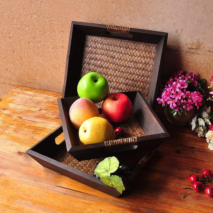 Юго-восточная Азия Домашнего Интерьера руководство трех частей древесины бамбука корзина с фруктами СПА-продукции 0632-101310