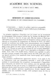 Les expérience de Roger Heim avec les champignons hallucinogènes, comparées à celle de Gordon Wasson et Aldous Huxley. Comptes rendus hebdomadaires des séances de l'Académie des sciences. Juillet 1957