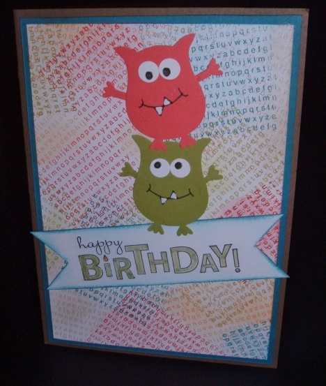 262 best stampin up kids cards images on pinterest kids cards a to z happy monsters little monstersbirthday cards for kidsart bookmarktalkfo Images