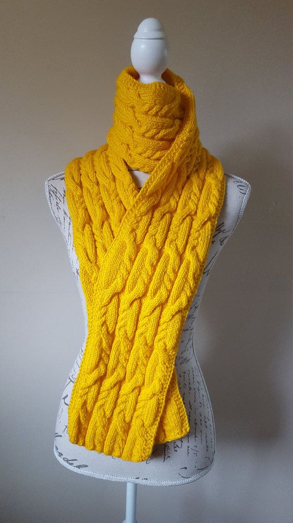 Yellow Color Unisex Hand-Knitted Scarf