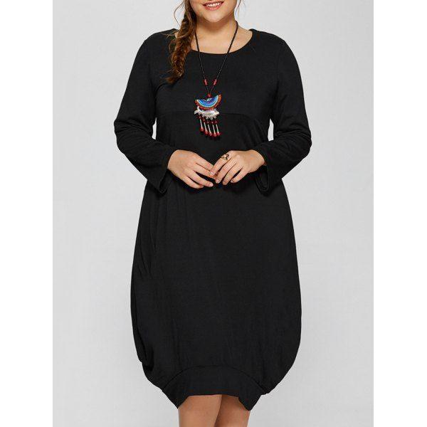 Long Sleeve Plus Size Midi Baggy Dress, BLACK, XL in Dresses   DressLily.com