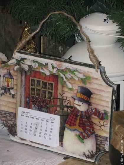 """Календарь панно """" Снеговик - почтовик"""" - календарь,календарь декупаж,календарь 2015"""