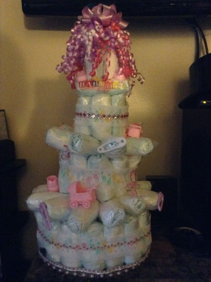 Diaper cake for a baby shower gift