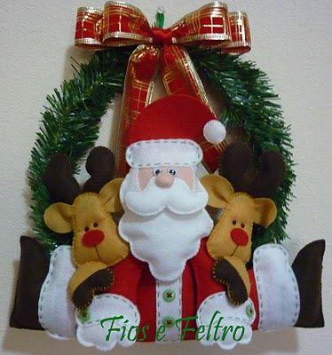 Fios e Feltro: Guirlanda Papai Noel com renas