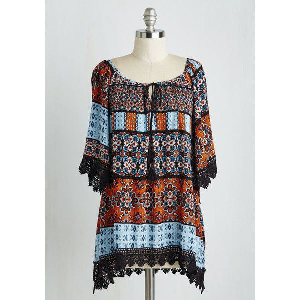 Boho Mid-length Short Sleeves BringinGÇÖ Down the Housewarming Top ($14) ❤ liked on Polyvore featuring tops, dresses, apparel, multi, woven top, night out tops, lace trim top, boho chic tops, bohemian style tops and bohemian crochet top