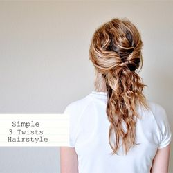 Simple 3-twists hairstyle. Supposed to work with shoulder length hair, but we'll see if that's true.