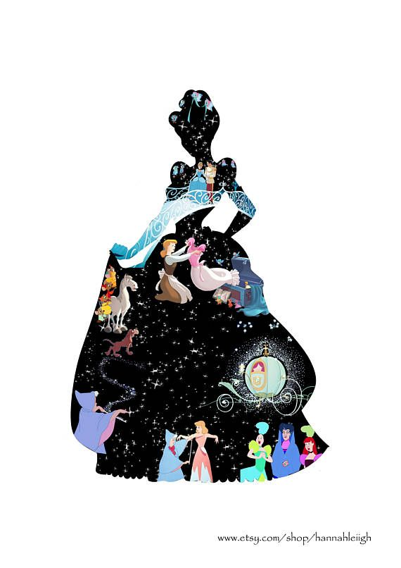 Cinderella silhouette filled with characters etc from the film! Size: UK A4 (a little larger than US Letter size) Framed: comes printed on glossy photo paper and framed in a clear, clip on plastic-glass frame. Posted in a cardboard protector and a bubble wrapped envelope. Unframed: