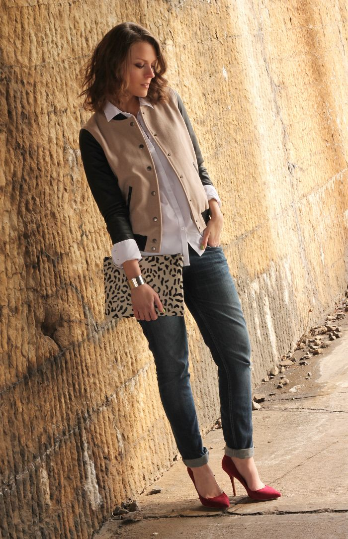 jeans, white shirt and fun jacket with a touch of animal print.