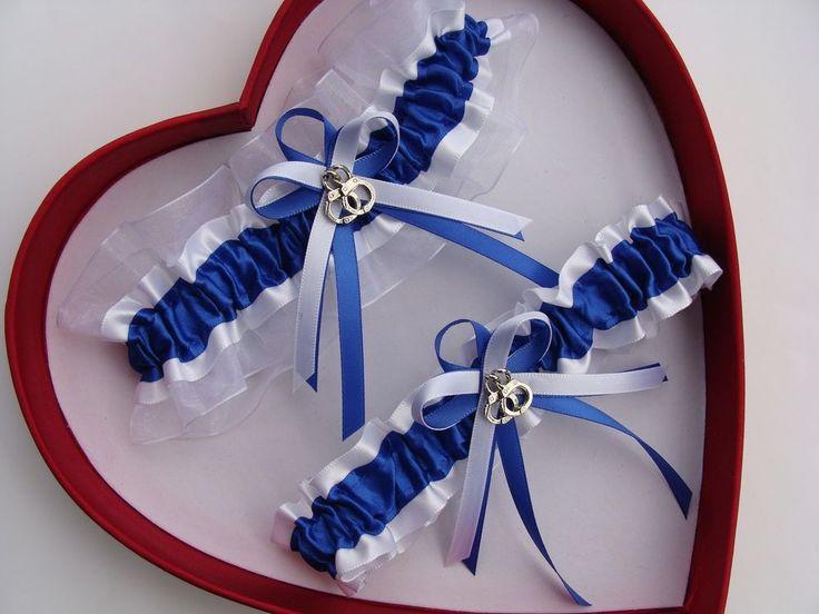 NEW Policewoman Police Officer Handcuffs Royal Blue White Wedding Garter Trooper