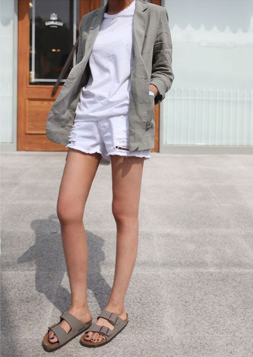 Neutral gray blazer white t-shirt shorts beige sandals. summer women apparel style outfit @roressclothes closet ideas fashion ladies clothing