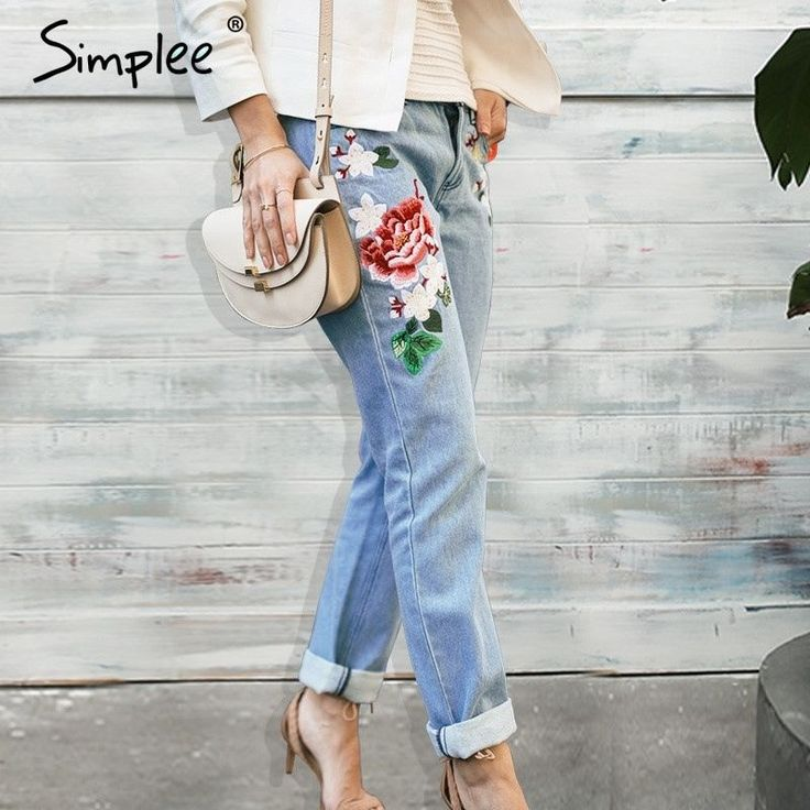 Floral Embroidery Jeans Female Straight Denim Pants Women Blue Trousers Jeans