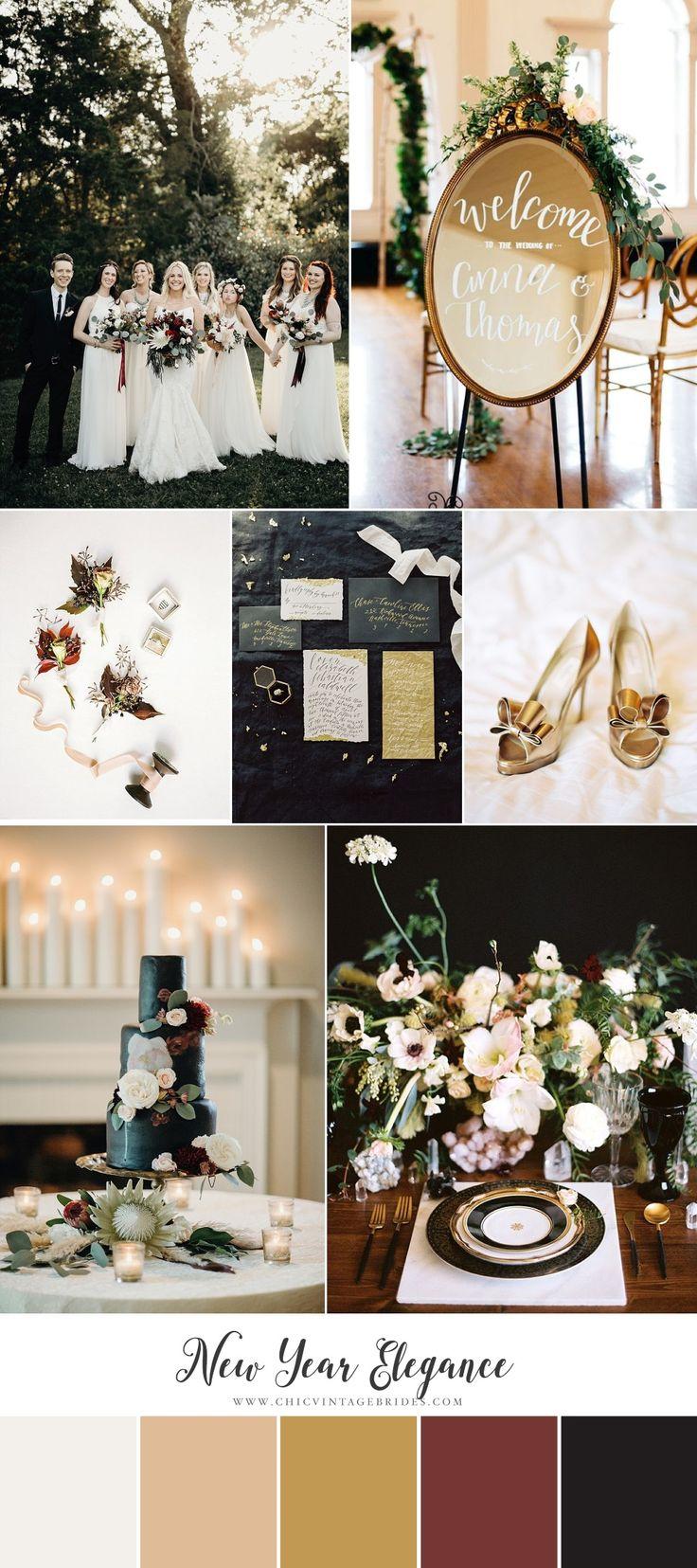 New Year Elegance - Stylish Wedding Inspiration in Ivory, Garnet & Gold
