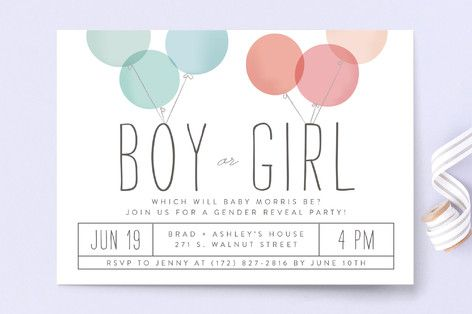 Discover the perfect invitation for a gender reveal baby shower. Shop Blow The Surprise Baby Shower Invitations by Laura Hankins at minted.com