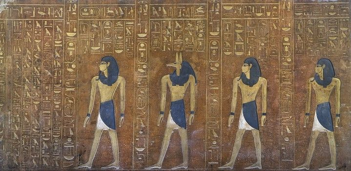 Egypt, Thebes (UNESCO World Heritage List, 1979) - Luxor. Valley of the Kings. Tomb of Thutmose IV. Historiated sarcophagus (Dynasty 18, Thutmose IV, 1397-1387 BC) Digital reconstruction (KV43 - 330240)