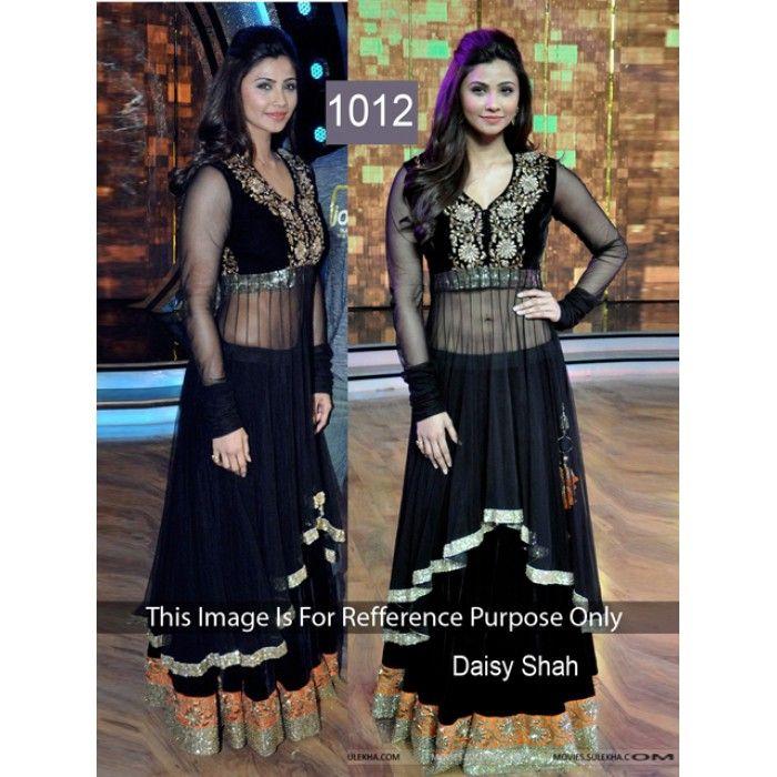 Beautiful Black Net & Velvet Daisy Shah Replica Gown
