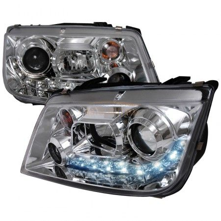 Spec-D LHP-JET99-8-TM | 2001 Volkswagen Jetta Chrome/Clear Halo LED Projector Headlights for Sedan