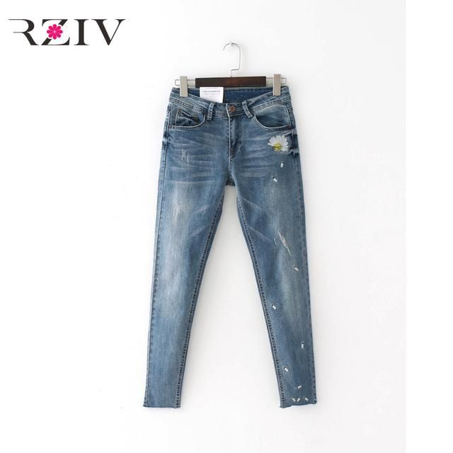RZIV 2017 skinny jeans woman casual solid color jeans flowers embroidered jeans trousers stretch denim jeans mujer