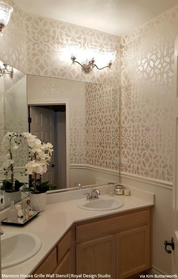 Bathroom Stencils The Wonder Wall That Lasts Longer Than Wallpaper Bathroom Wall Panels Trellis Wall Stencil Bathrooms Remodel