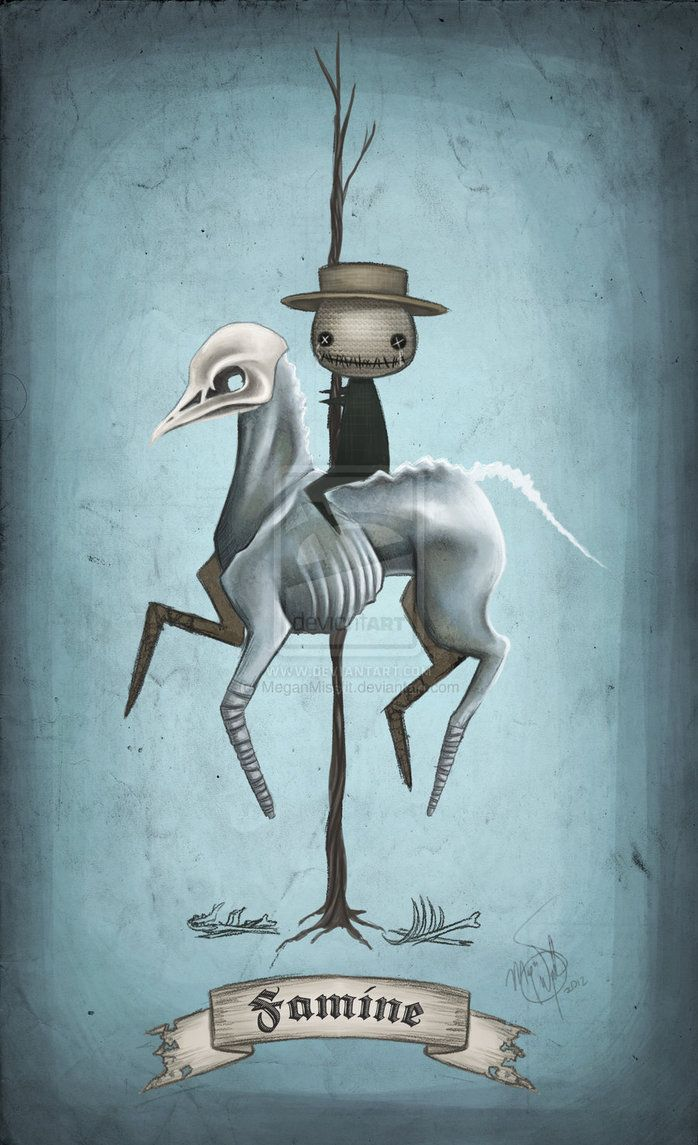 "4x6 fine art print - ""Famine"" Four Horsemen of the Apocalypse - creepy carousel…"