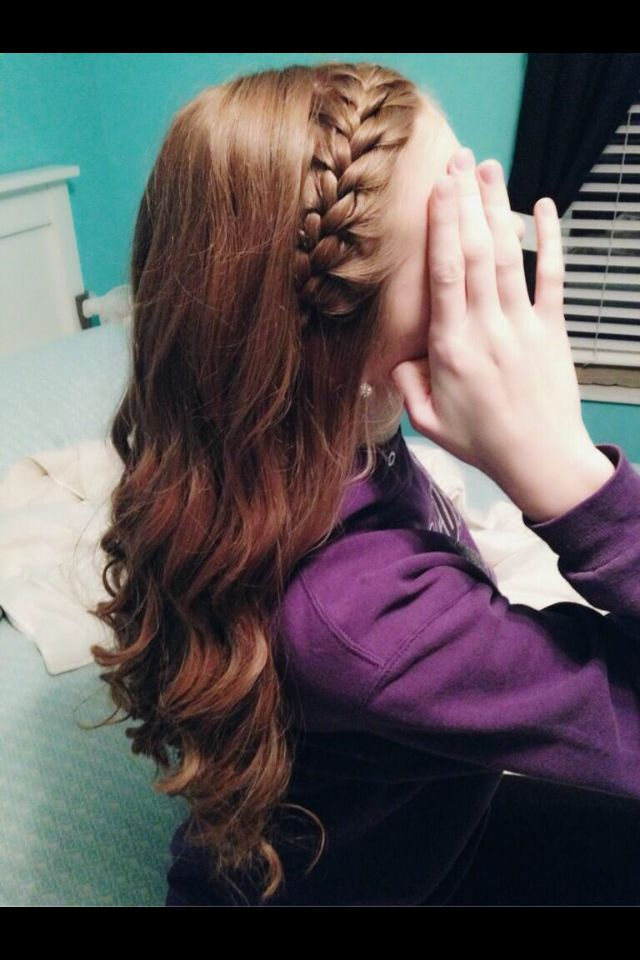 Spiral curls with French braided bangs