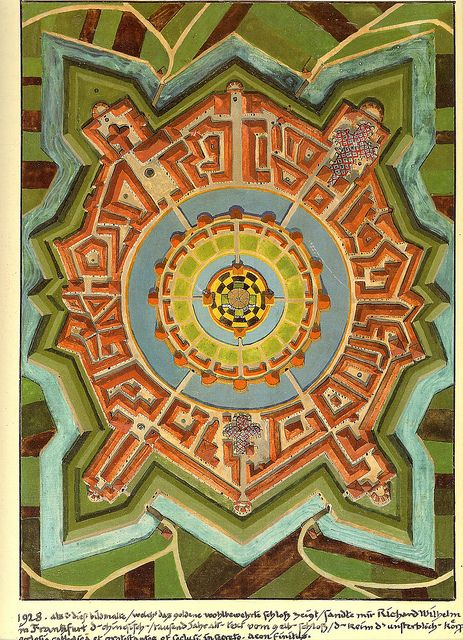 "images from karl jung's red book | Jung's Castle Mandala from his ""Red Book"""